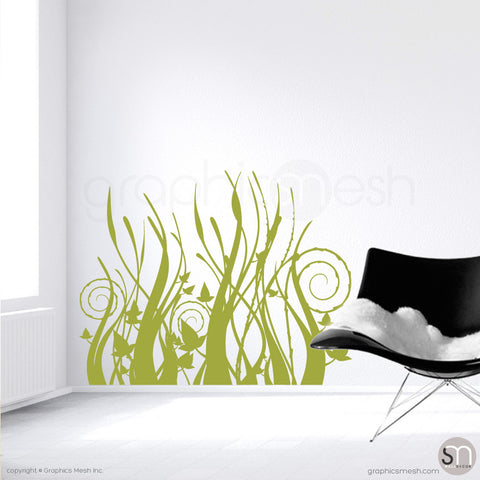 TRIBAL GRASS - Wall Decals Olive