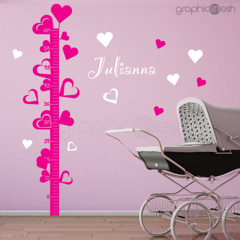 Hearts Growth Chart with Personalized Name - Wall decals
