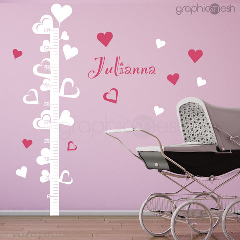 Hearts Growth Chart with Personalized Name - Wall decals white