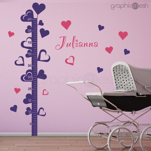 Hearts Growth Chart with Personalized Name - Wall decals violet