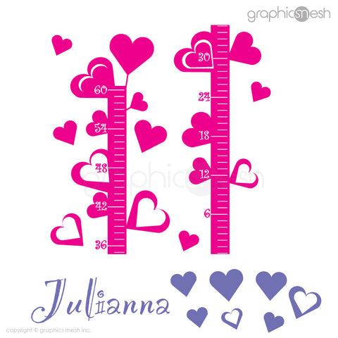 Hearts Growth Chart with Personalized Name - Wall decals layout