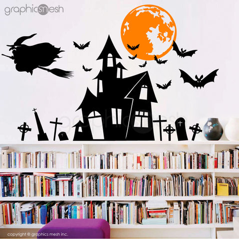 Halloween Witch's hunted house - Holiday wall decals