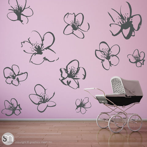 HAND DRAWN BLOSSOM FLOWERS - Quote Wall decals dark grey