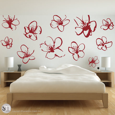 HAND DRAWN BLOSSOM FLOWERS - Quote Wall decals red