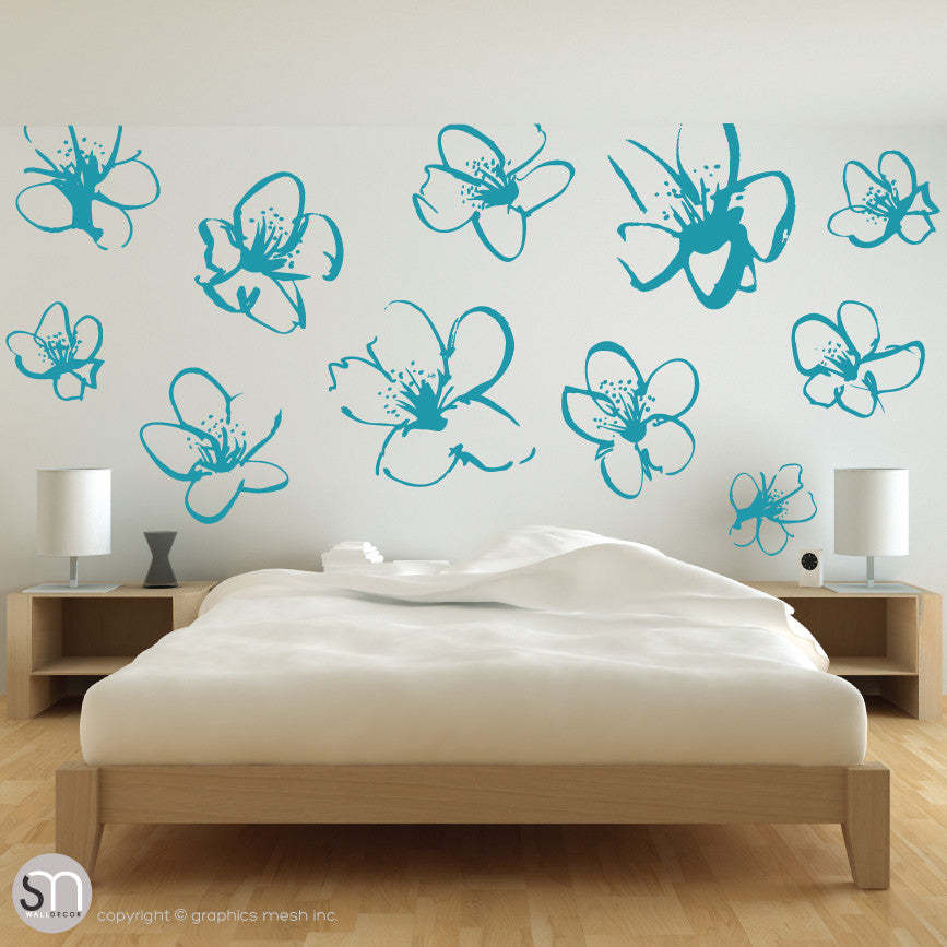 HAND DRAWN BLOSSOM FLOWERS - Quote Wall decals aqua