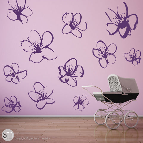 HAND DRAWN BLOSSOM FLOWERS - Quote Wall decals violet