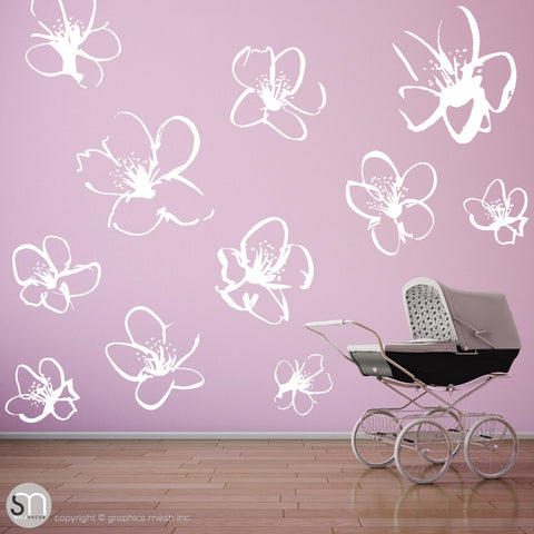 HAND DRAWN BLOSSOM FLOWERS - Quote Wall decals white