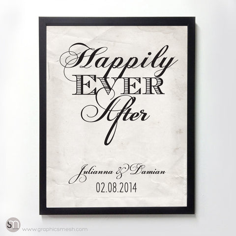 """HAPPILY EVER AFTER"" - PERSONALIZED WEDDING ART PRINT"