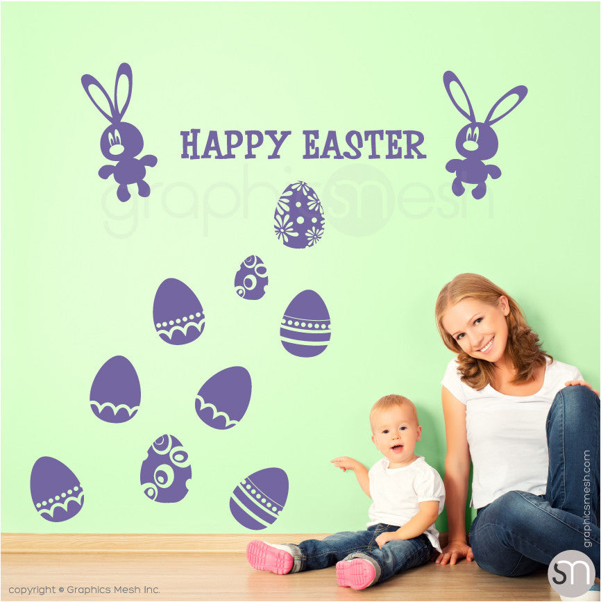 HAPPY EASTER BUNNY & EGGS SET - Wall decals lavender