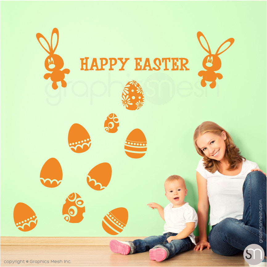HAPPY EASTER BUNNY & EGGS SET - Wall decals golden yellow