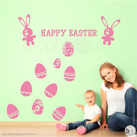 HAPPY EASTER BUNNY & EGGS SET - Wall decals pink