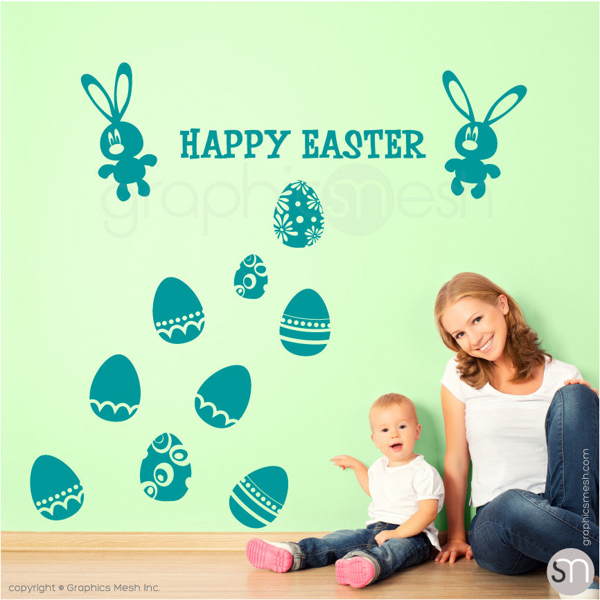 HAPPY EASTER BUNNY & EGGS SET - Wall decals turquoise