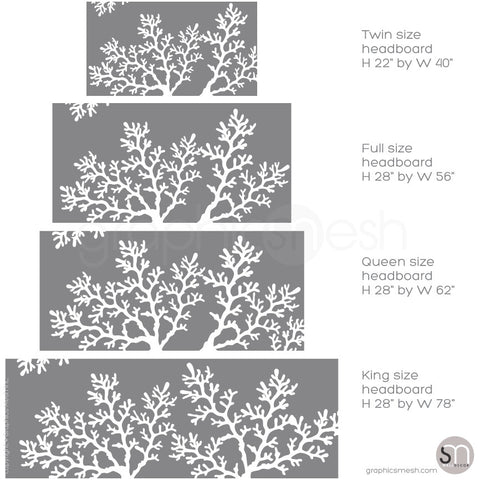 CORAL BRANCH HEADBOARD - Wall Decal sizes