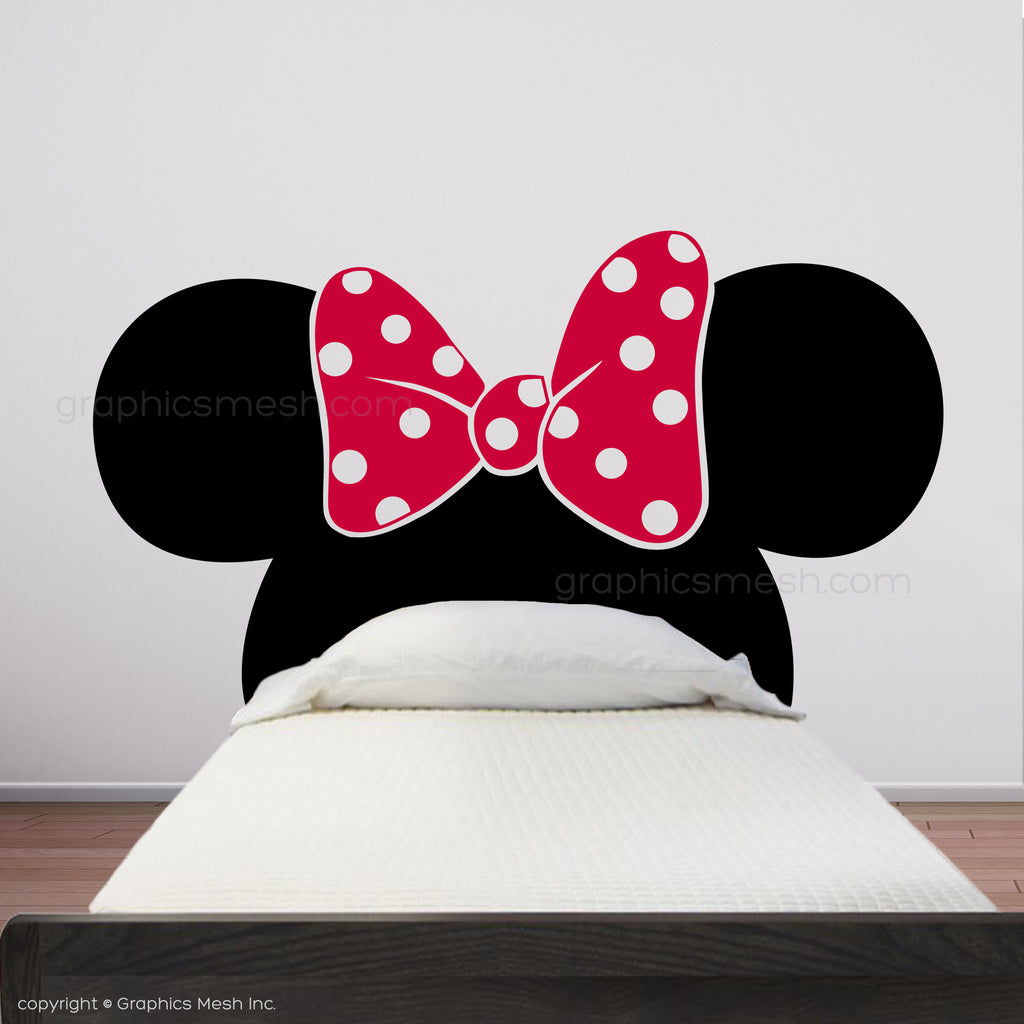 MINNIE MOUSE EARS WITH BOW HEADBOARD - Kids wall decals
