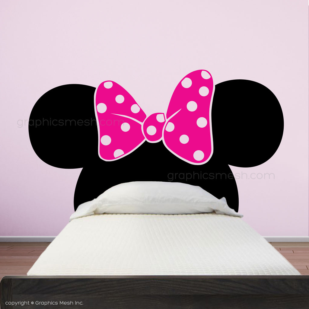 ... MINNIE MOUSE EARS WITH BOW HEADBOARD   Kids Wall Decals ...