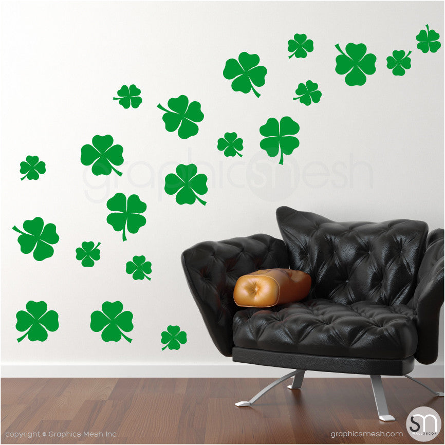 IRISH SHAMROCKS - Wall Decals Pack grass green color
