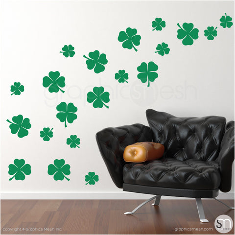 IRISH SHAMROCKS - Wall Decals Pack green color