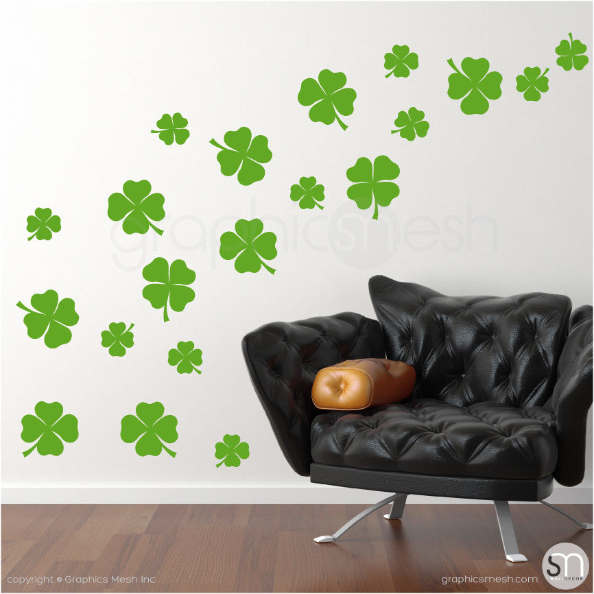 IRISH SHAMROCKS - Wall Decals Pack lime
