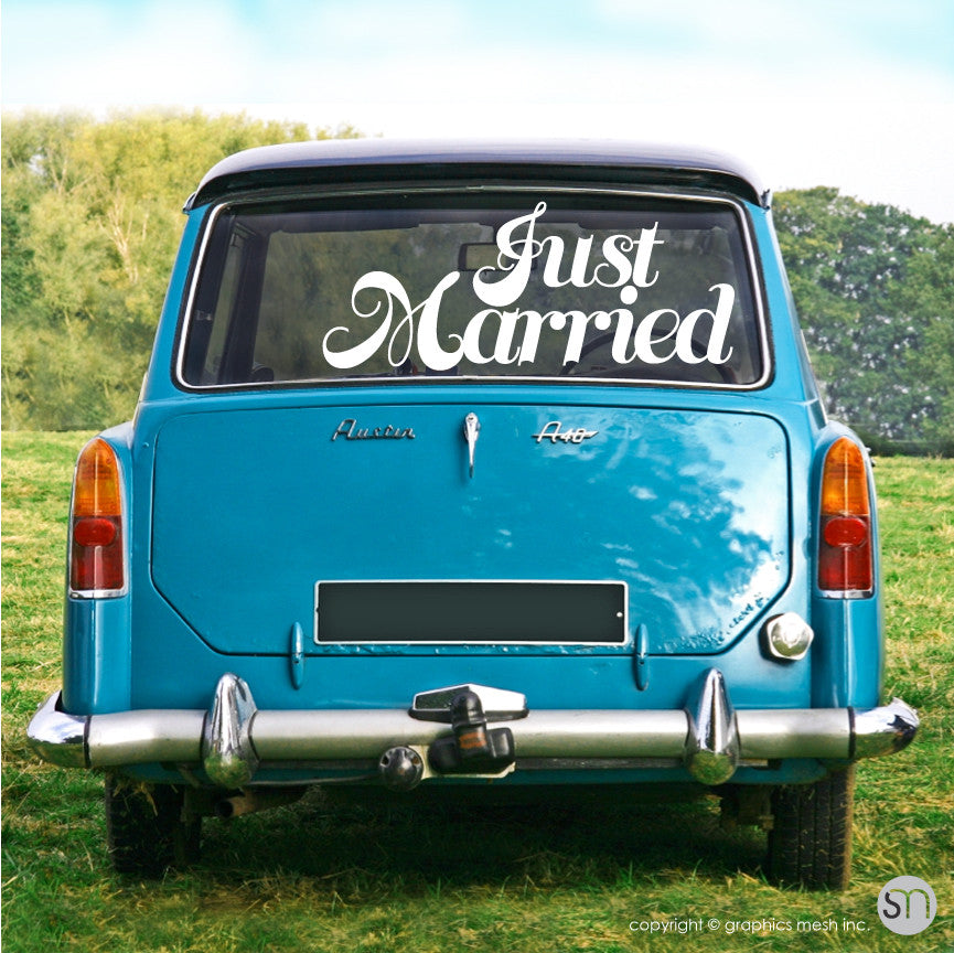 """Just Married"" Wedding decals - Car/limo sign vinyl lettering"