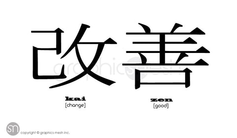 KAIZEN - Japanese for GOOD CHANGE - Productivity Wall decals black vinyl