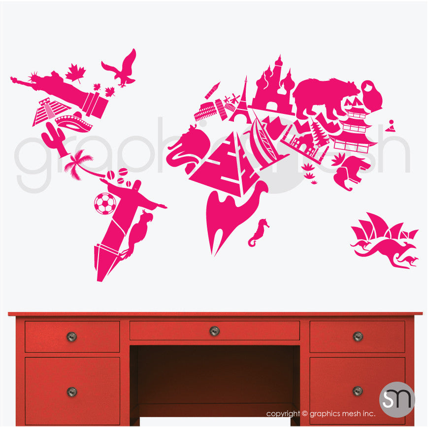 LANDMARKS WORLD MAP - Wall decals hot pink color