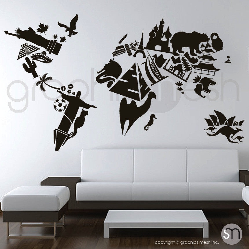 LANDMARKS WORLD MAP   Wall Decals Black Color