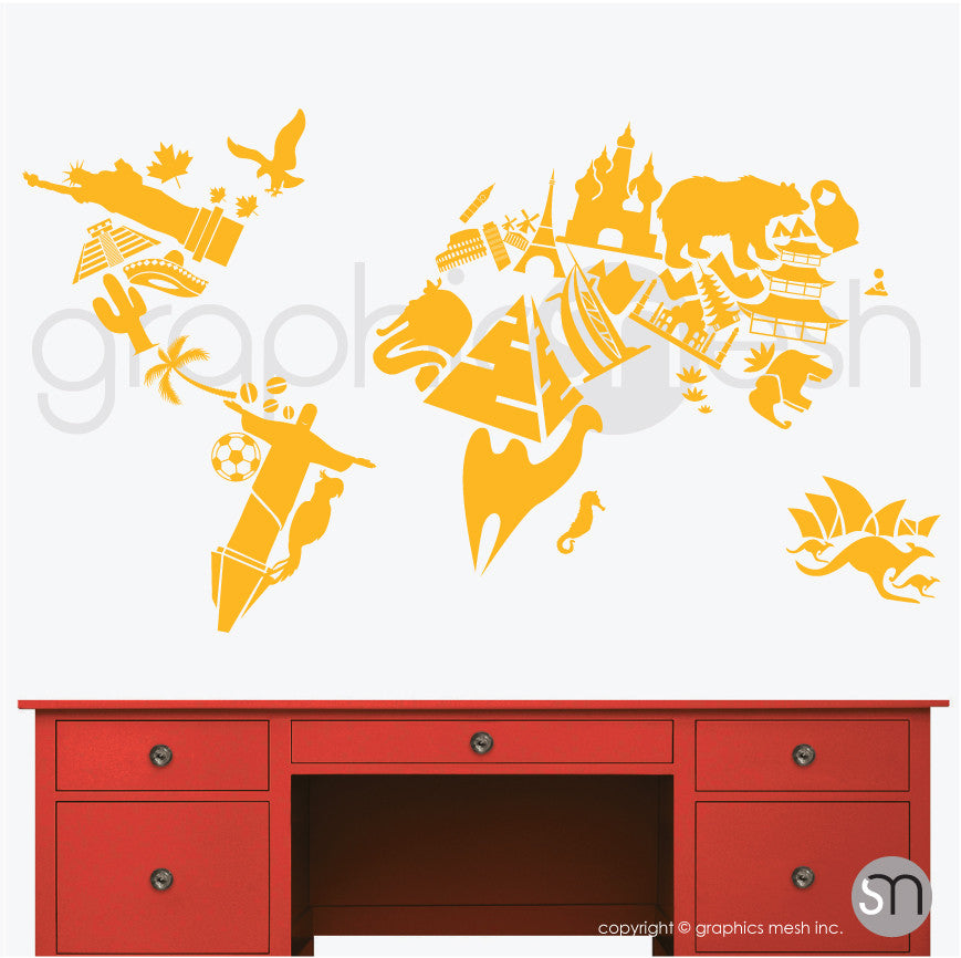 LANDMARKS WORLD MAP - Wall decals yellow color