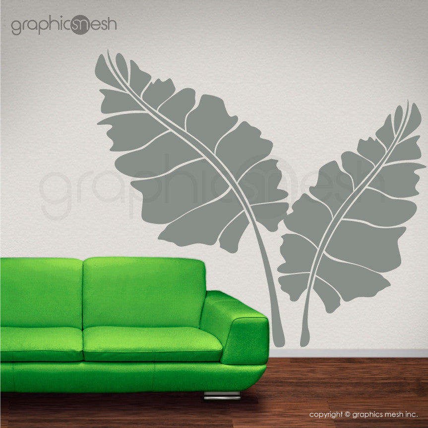 OVER SIZED LEAVES - Set of two - Wall decals grey