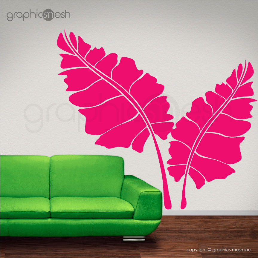 OVER SIZED LEAVES - Set of two - Wall decals hot pink