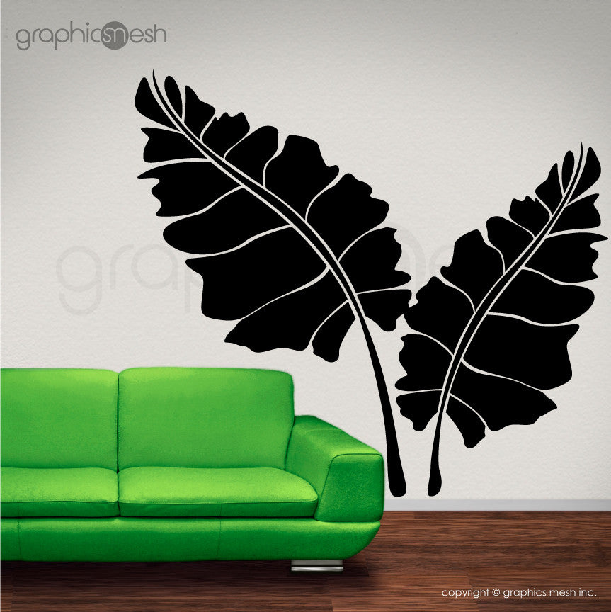 OVER SIZED LEAVES - Set of two - Wall decals black