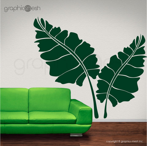 OVER SIZED LEAVES - Set of two - Wall decals green