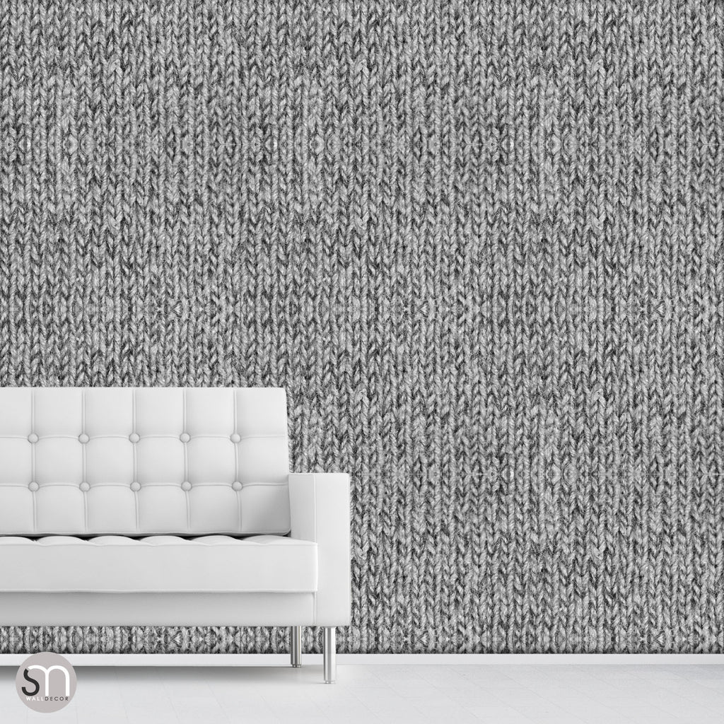 Living room wallpaper texture -  Grey Knit Sweater Peel Stick Realistic Texture Wallpaper