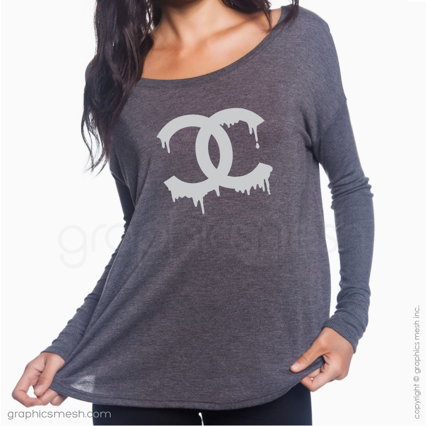 DRIPPING CHANEL LOGO - Flowy Long-Sleeve shirt for her