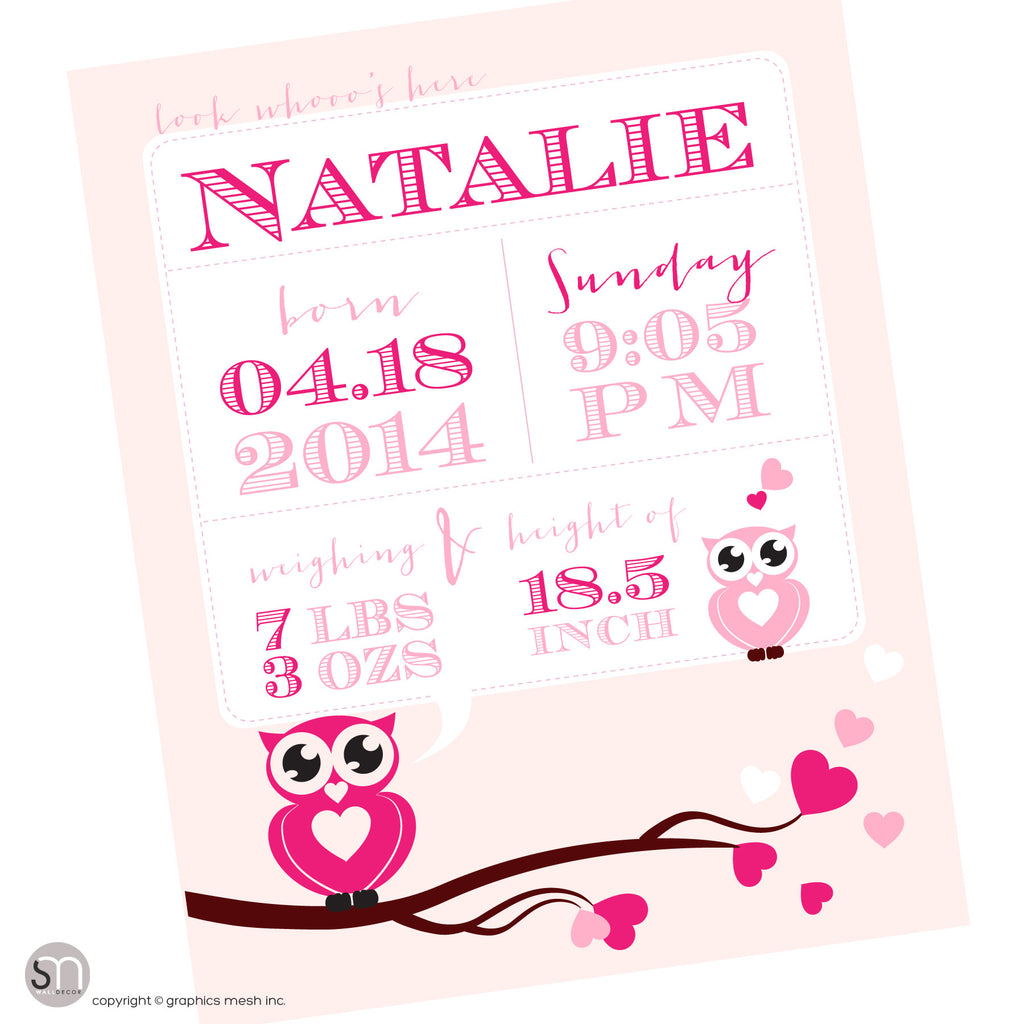 Pink poster for newborns - PERSONALIZED OWL ANNOUNCEMENT PRINT