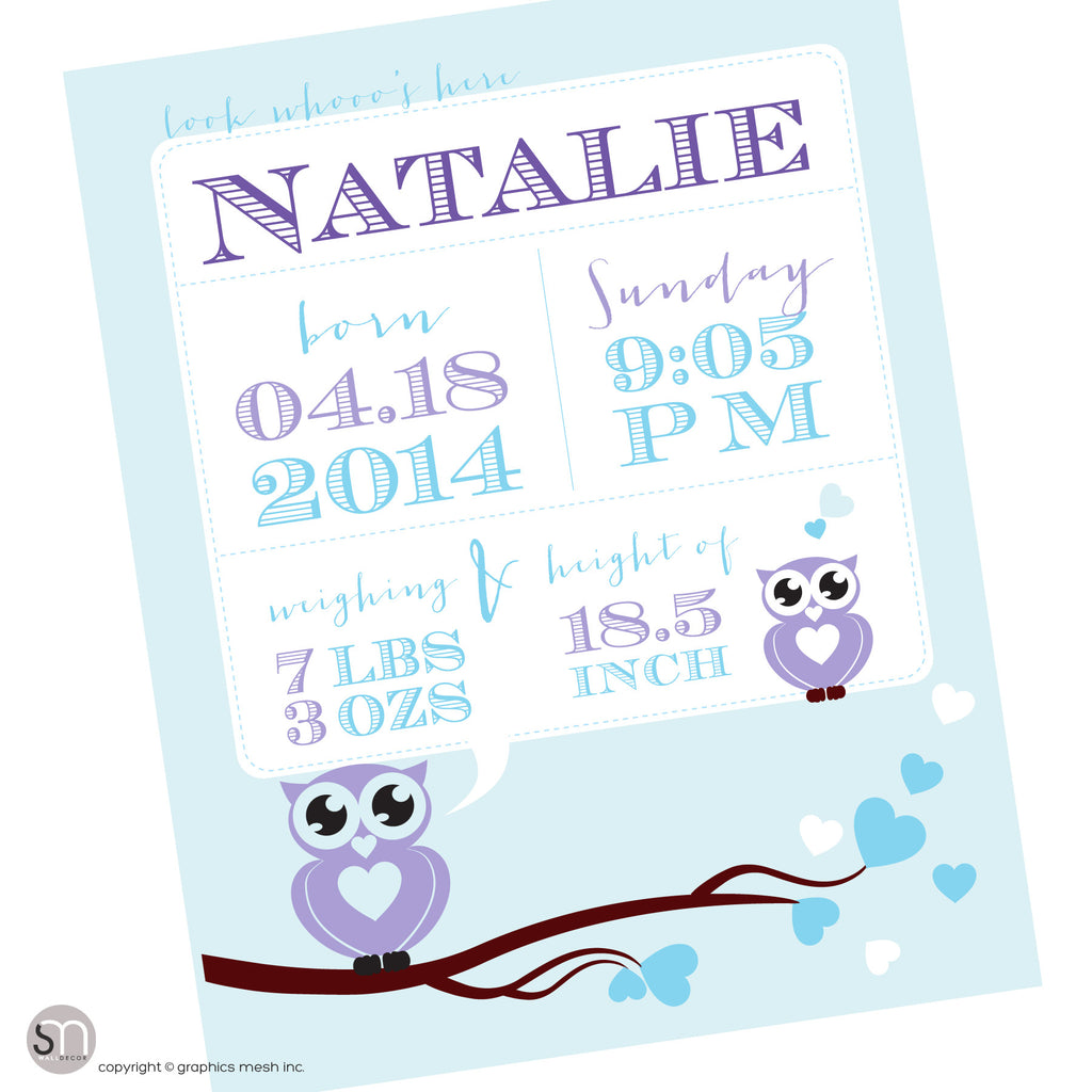 Blue poster for newborns - PERSONALIZED OWL ANNOUNCEMENT PRINT