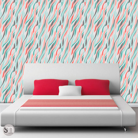 LOOSE ABSTRACT WAVES - Peel & Stick Wallpaper