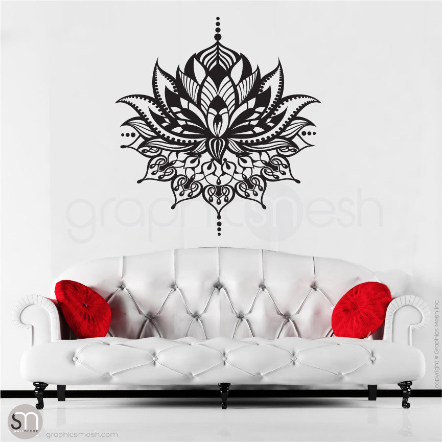 TRIBAL LOTUS FLOWER Tattoo - wall decal black