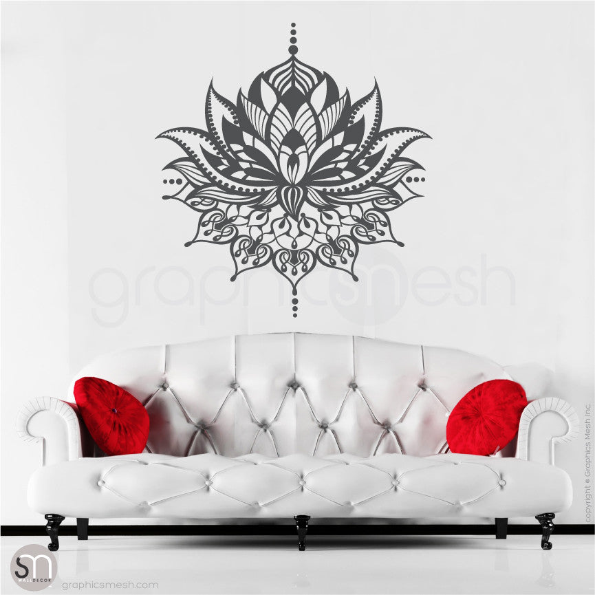 TRIBAL LOTUS FLOWER Tattoo - wall decal dark grey