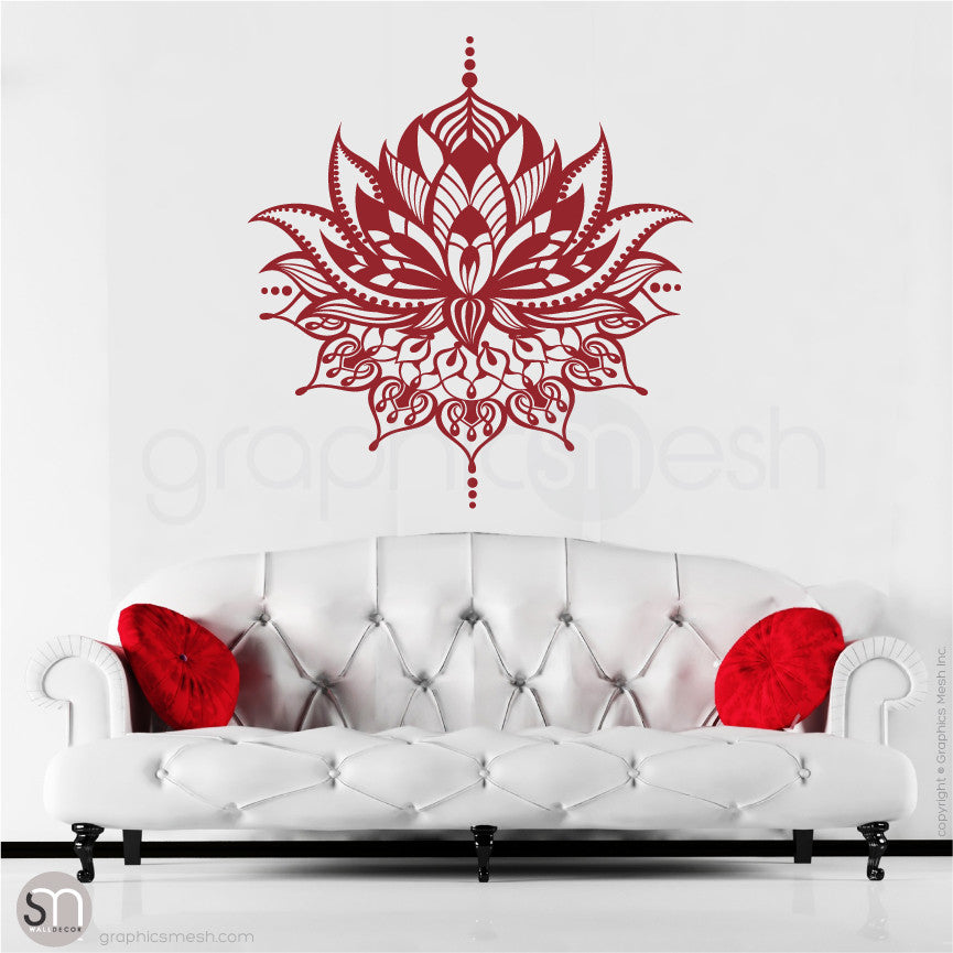 TRIBAL LOTUS FLOWER Tattoo - wall decal dark red