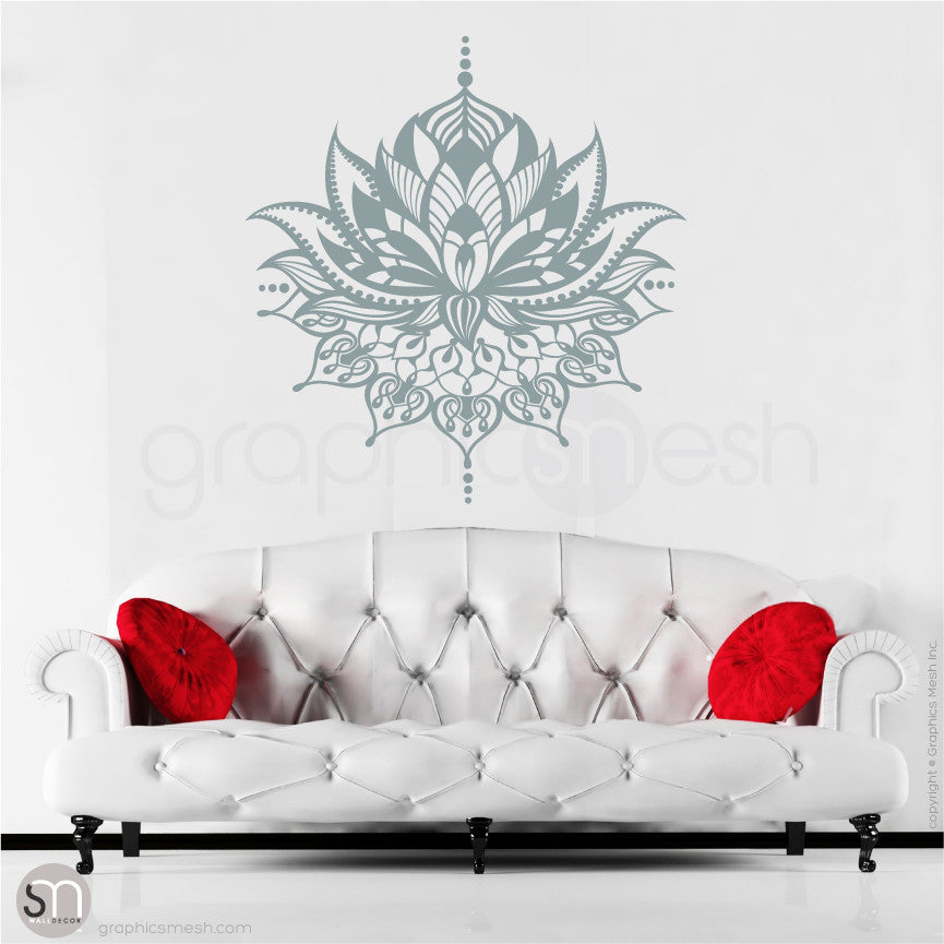 TRIBAL LOTUS FLOWER Tattoo - wall decal slate