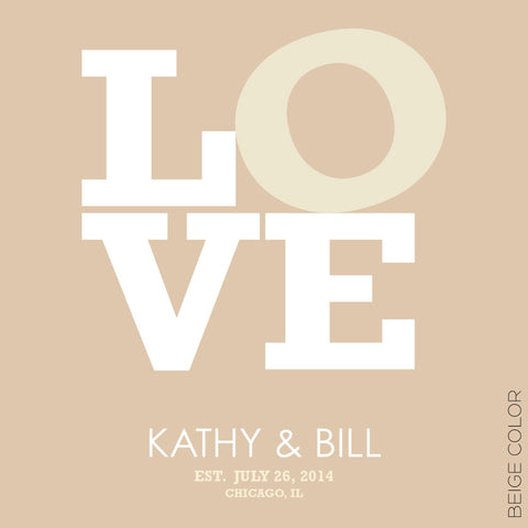 LOVE PERSONALIZED WEDDING TYPOGRAPHY PRINT beige