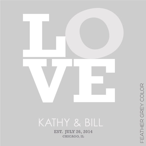 LOVE PERSONALIZED WEDDING TYPOGRAPHY PRINT grey