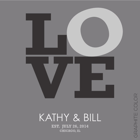LOVE PERSONALIZED WEDDING TYPOGRAPHY PRINT graphite