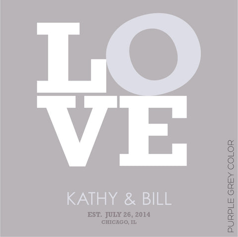 LOVE PERSONALIZED WEDDING TYPOGRAPHY PRINT purple grey