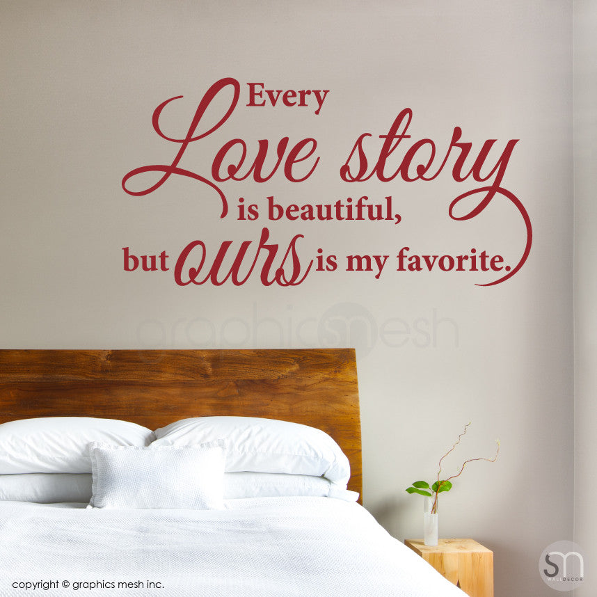 Love Story Decorative wall quote Dark Red