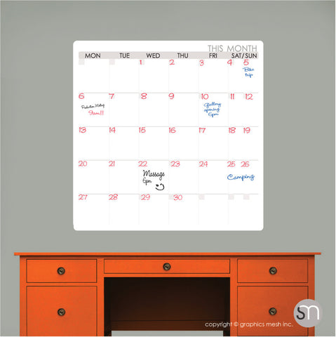 THIS MONTH DRY ERASE CALENDAR DECAL - MOD COLLECTION