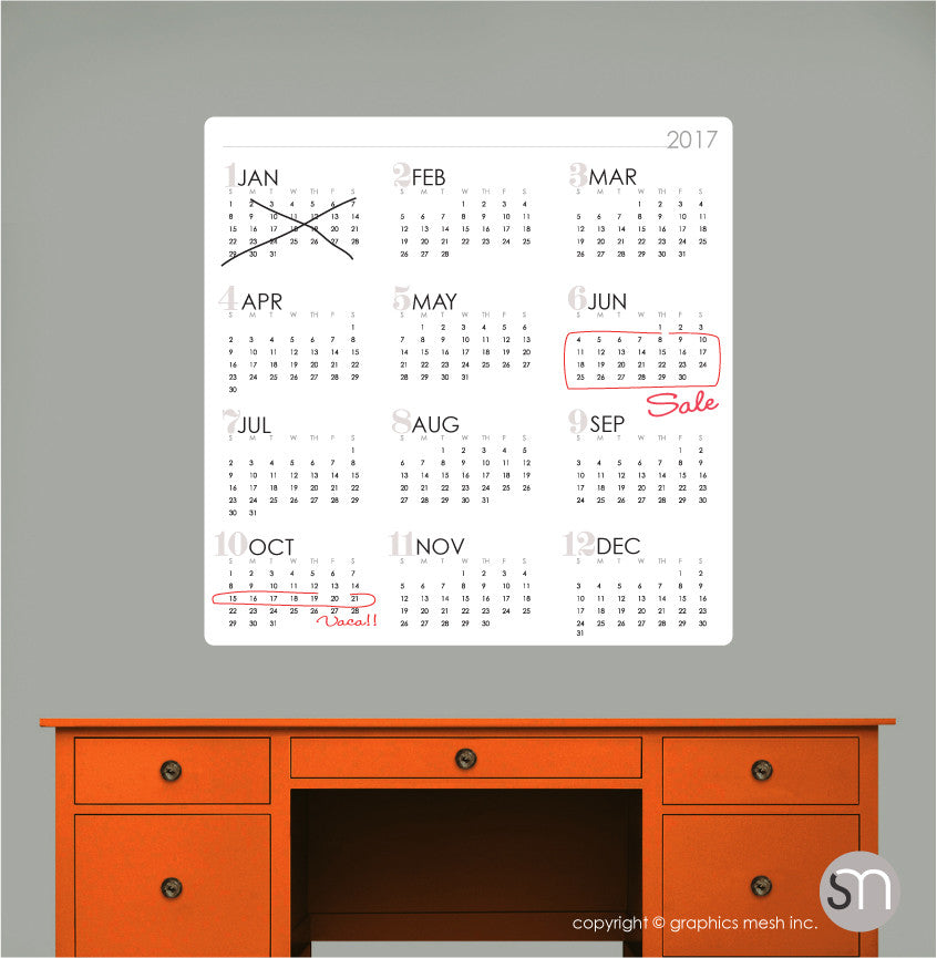 2017 DRY ERASE CALENDAR WALL DECAL white