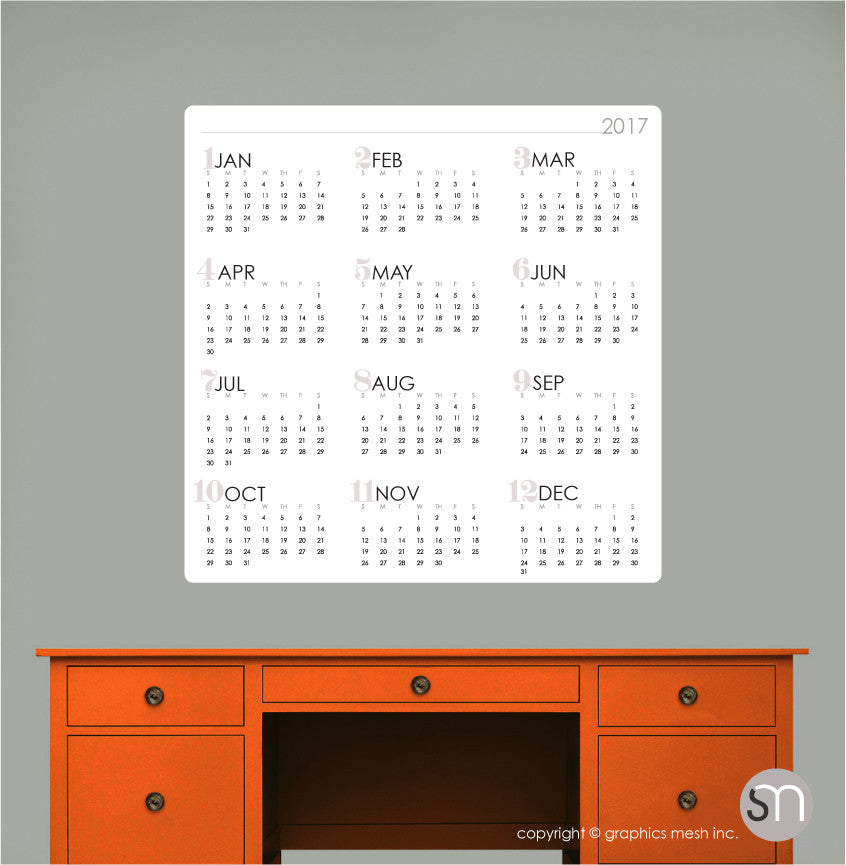 dry erase calendar wall decal mod collection - Dry Erase Calendar
