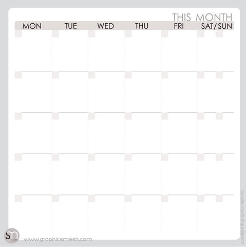 Month DRY ERASE CALENDAR DECALS - MOD COLLECTION