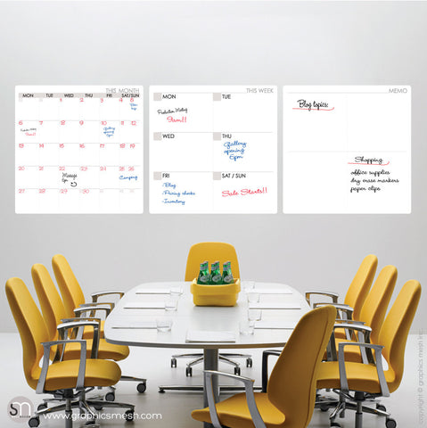 MONTH / WEEK  / MEMO DRY ERASE CALENDAR DECALS - MOD COLLECTION